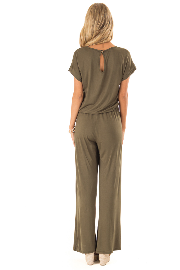 Olive Short Sleeve Jumpsuit with Waist Tie and Pockets back full body