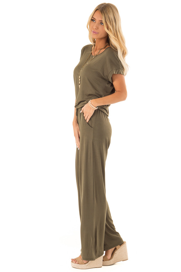 Olive Short Sleeve Jumpsuit with Waist Tie and Pockets side full body