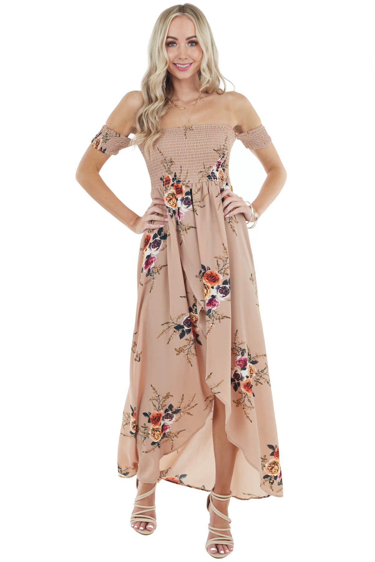 Cocoa and Floral Print Off Shoulder Smocked Maxi Dress