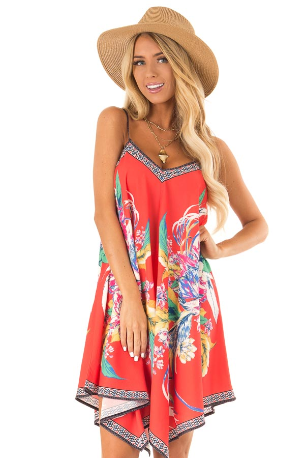 Candy Red Flowy Dress with Tropical Print front close up