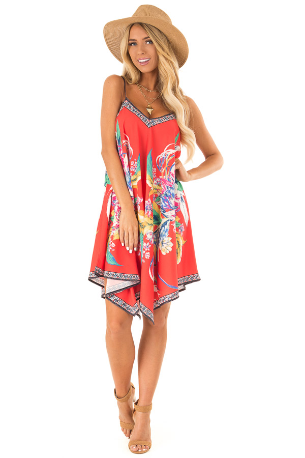Candy Red Flowy Dress with Tropical Print front full body