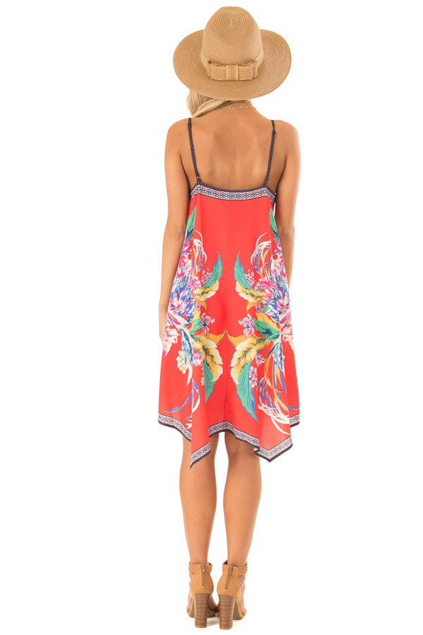 Candy Red Flowy Dress with Tropical Print back full body
