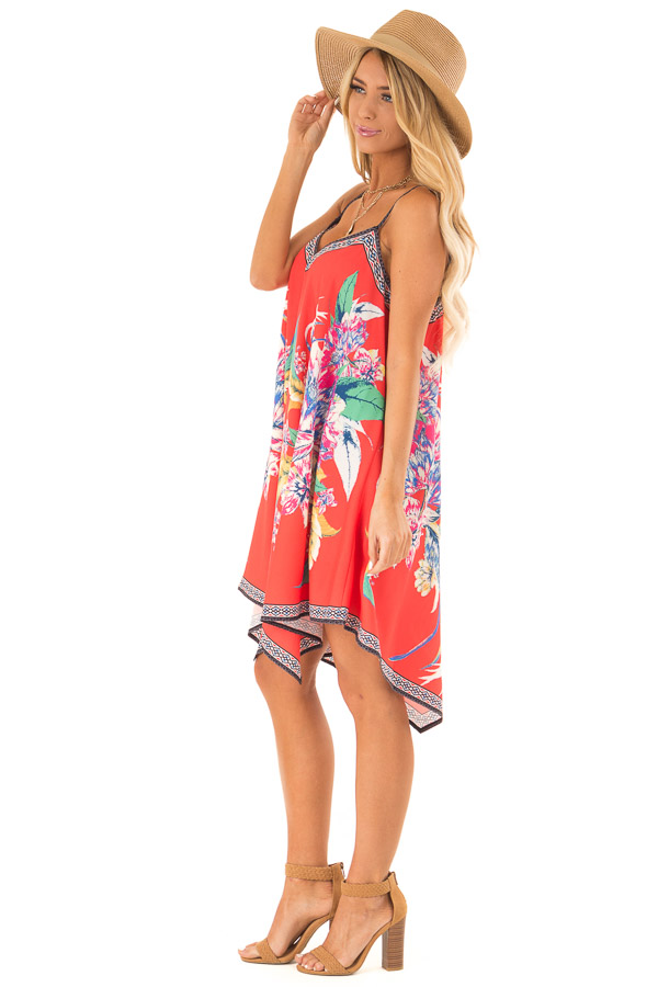 Candy Red Flowy Dress with Tropical Print side full body
