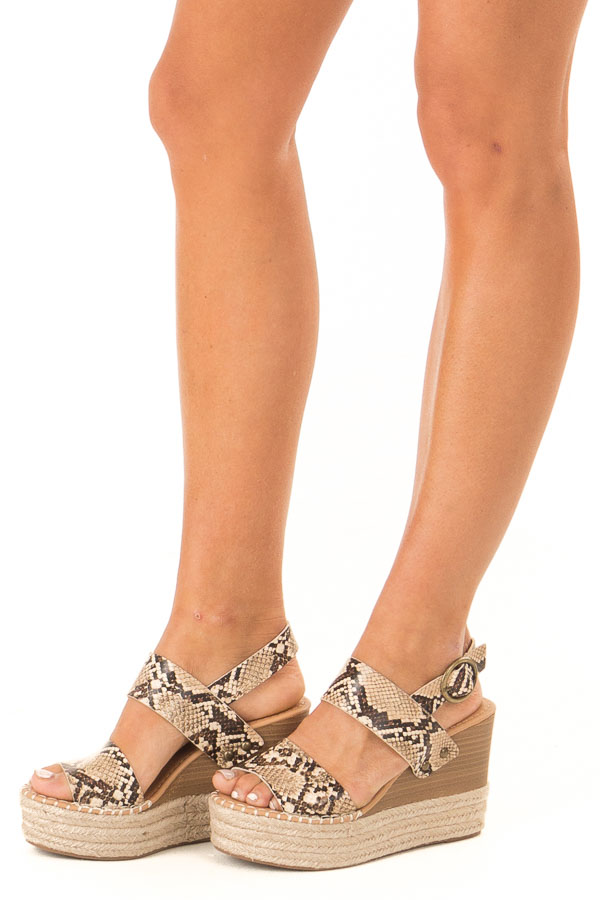 Taupe Snake Print Espadrille Wedge Sandals with Ankle Strap front side view