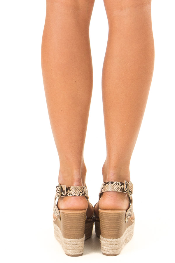 Taupe Snake Print Espadrille Wedge Sandals with Ankle Strap back view