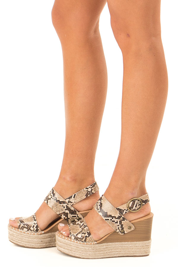 Taupe Snake Print Espadrille Wedge Sandals with Ankle Strap side view