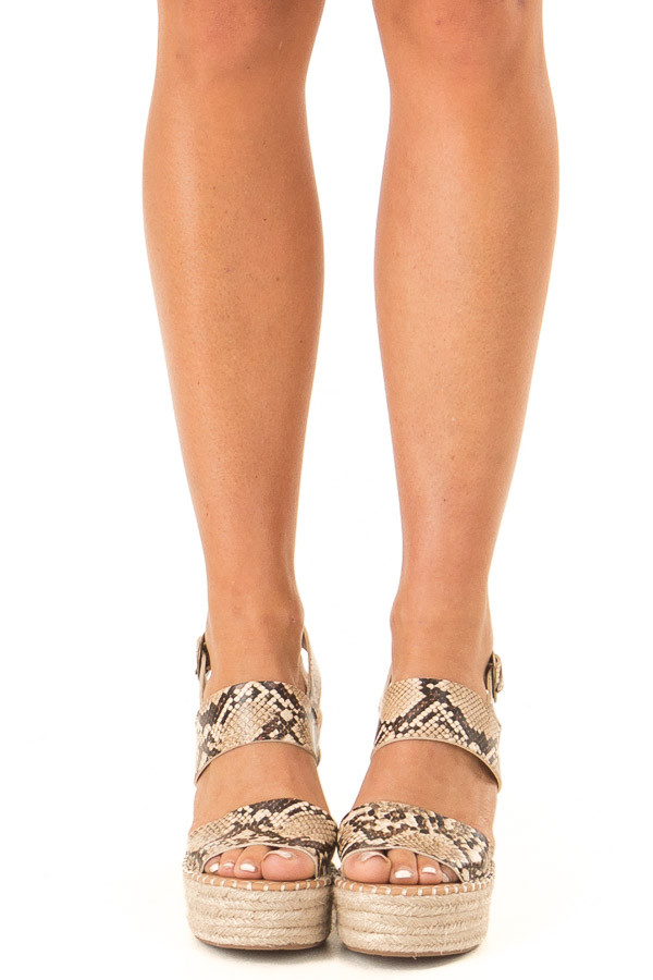Taupe Snake Print Espadrille Wedge Sandals with Ankle Strap front view