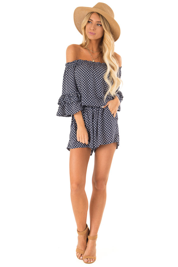 Midnight Blue Off the Shoulder Romper with Side Pockets front full body