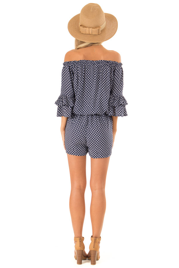 Midnight Blue Off the Shoulder Romper with Side Pockets back full body