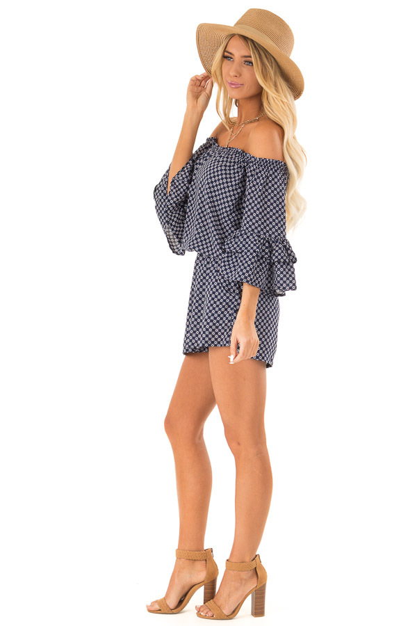 Midnight Blue Off the Shoulder Romper with Side Pockets side full body