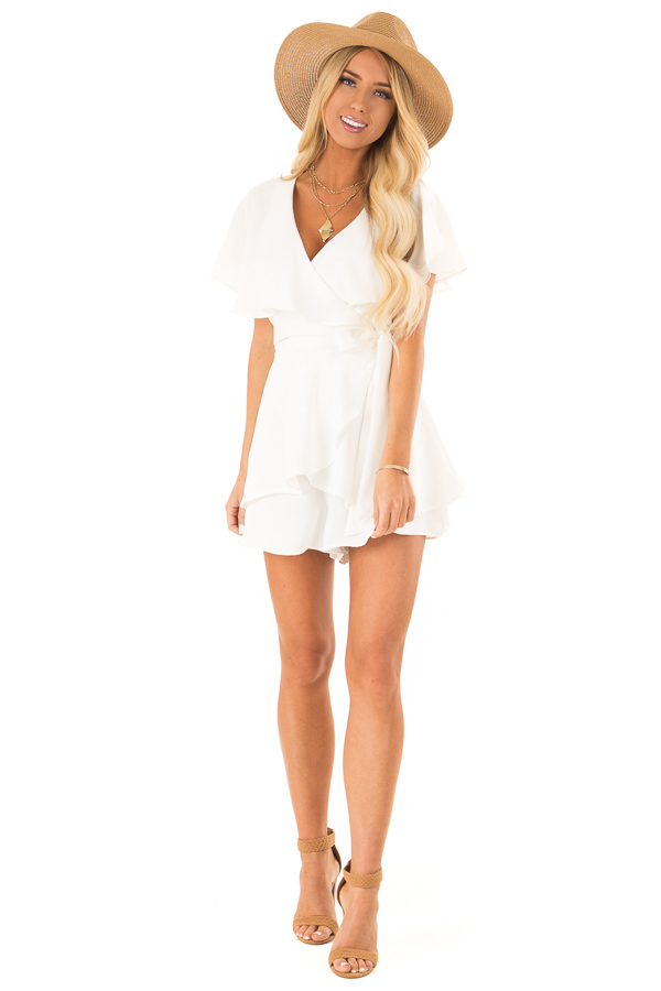 Ivory V Neck Surplice Romper with Ruffle Details and Tie front full body