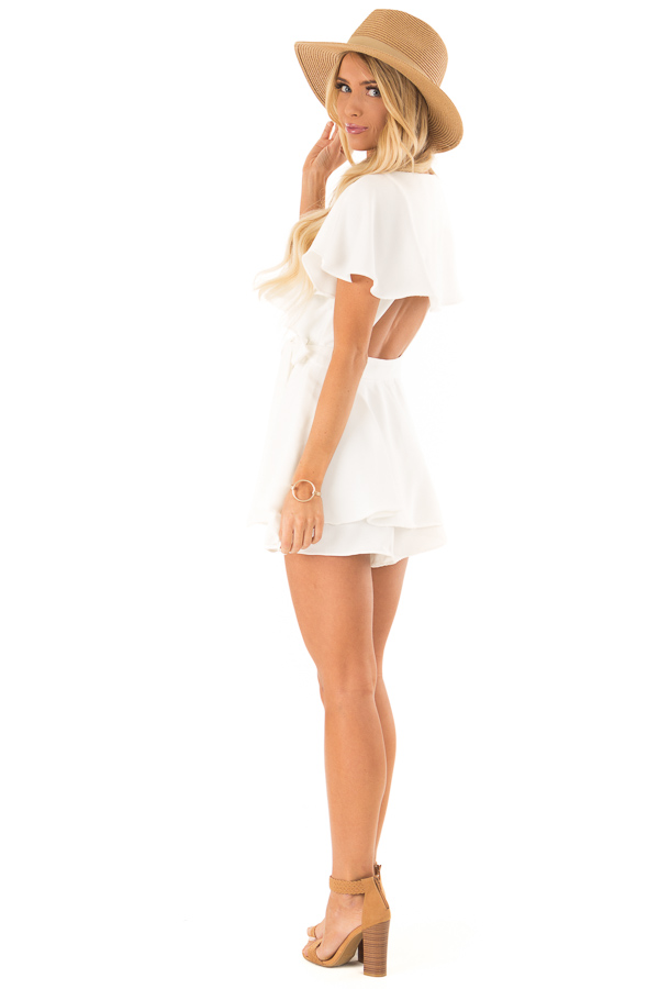Ivory V Neck Surplice Romper with Ruffle Details and Tie side full body