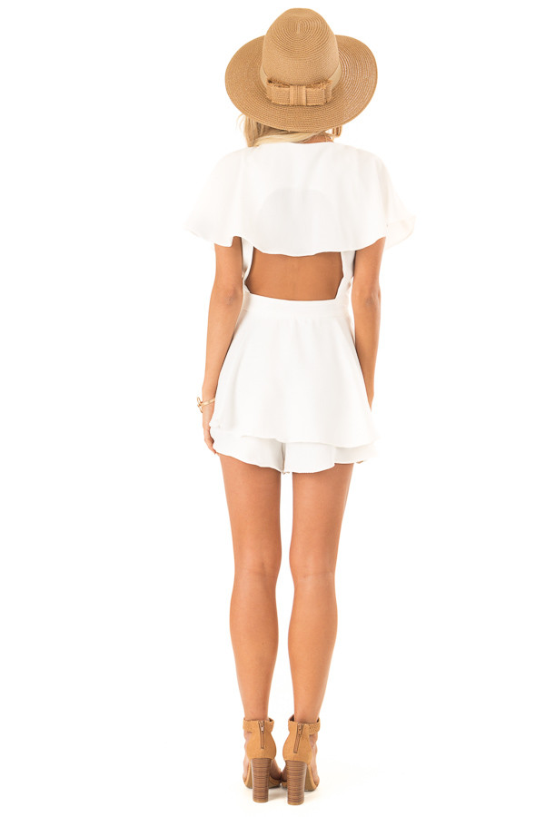 Ivory V Neck Surplice Romper with Ruffle Details and Tie back full body