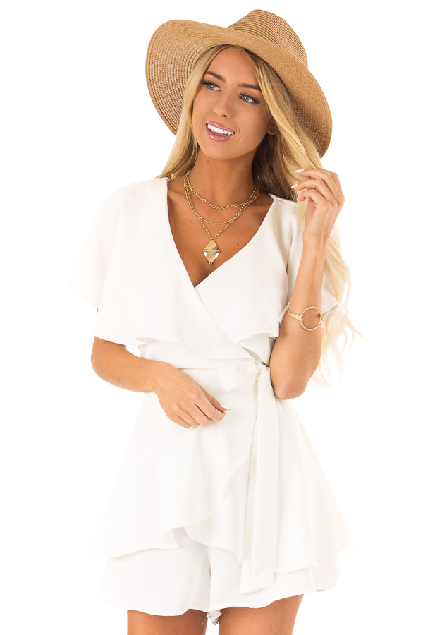 Ivory V Neck Surplice Romper with Ruffle Details and Tie front close up