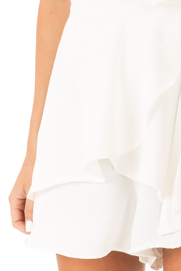 Ivory V Neck Surplice Romper with Ruffle Details and Tie detail