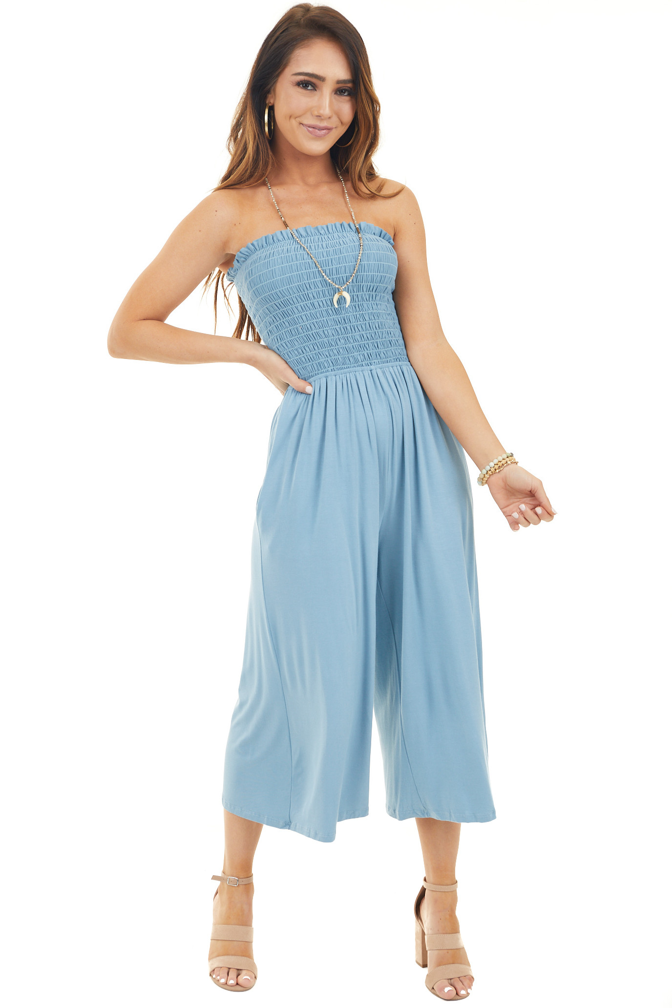 Chambray Strapless Smocked Jumpsuit with Wide Cropped Leg