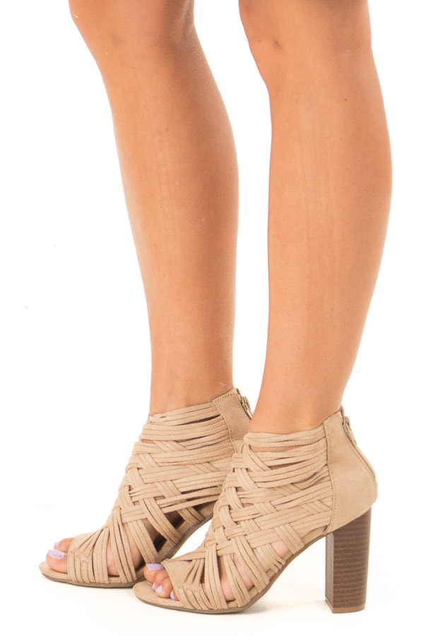 Beige Faux Suede Strappy Sandal with Chunky Heel side view
