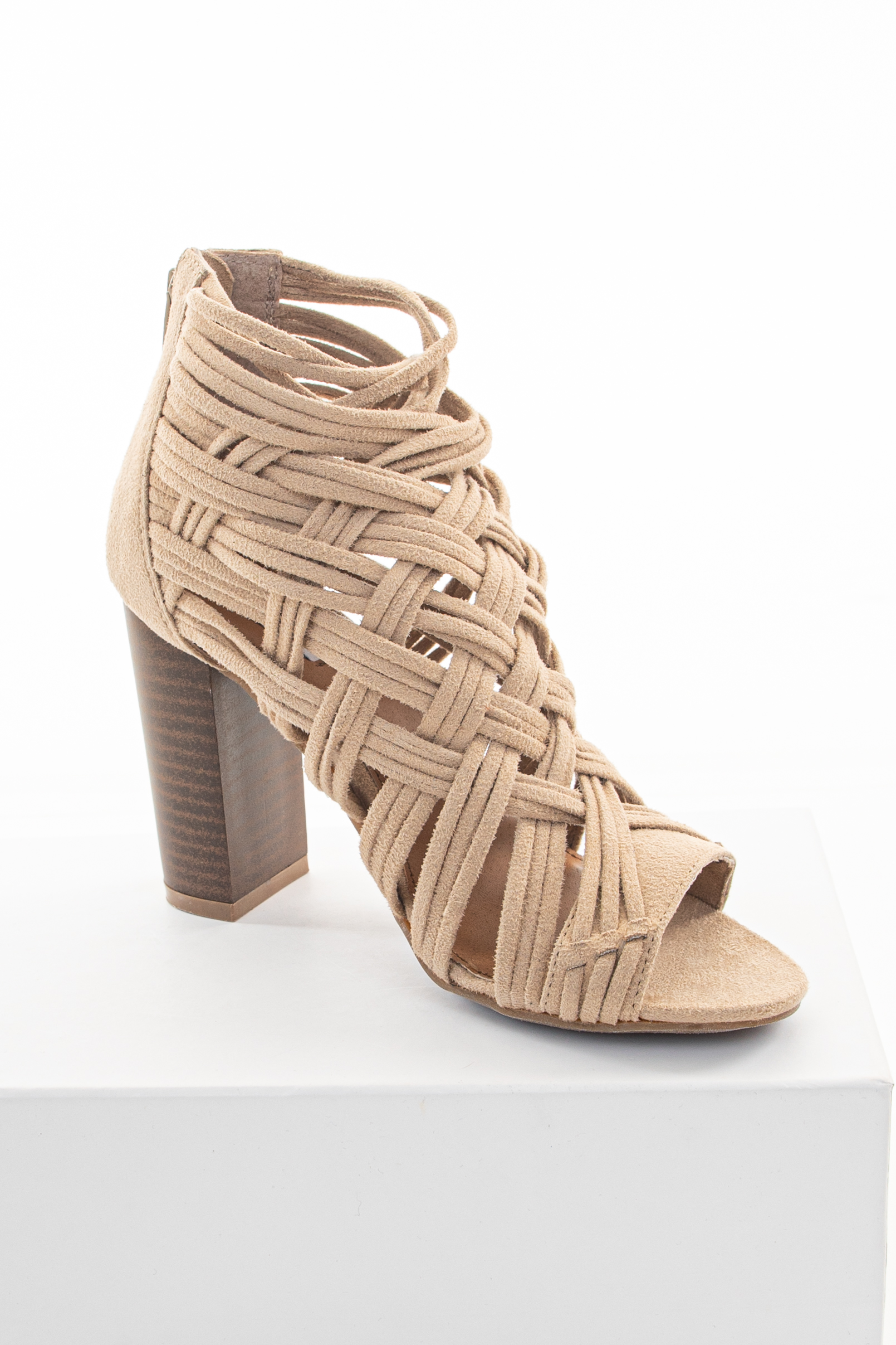 Beige Faux Suede Strappy Sandal with Chunky Heel
