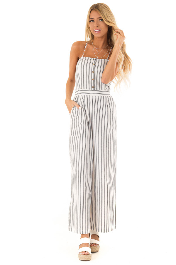 Ivory and Denim Pinstriped Spaghetti Strap Jumpsuit front full body