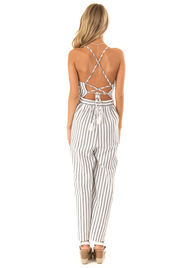 Ivory and Denim Pinstriped Spaghetti Strap Jumpsuit back full body