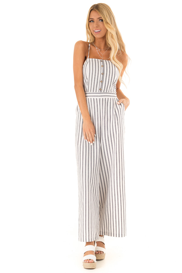 Ivory and Denim Pinstriped Spaghetti Strap Jumpsuit front close up