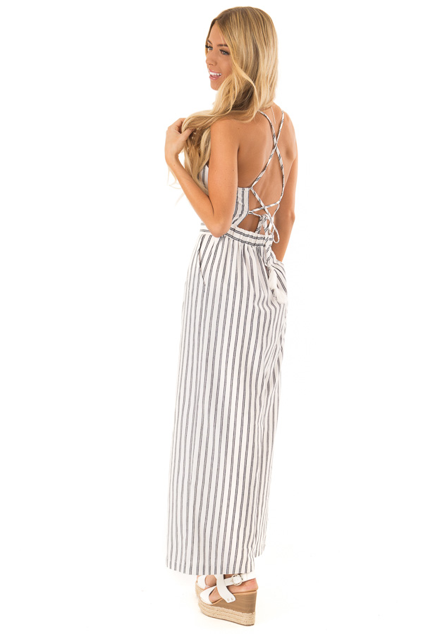 Ivory and Denim Pinstriped Spaghetti Strap Jumpsuit side full body