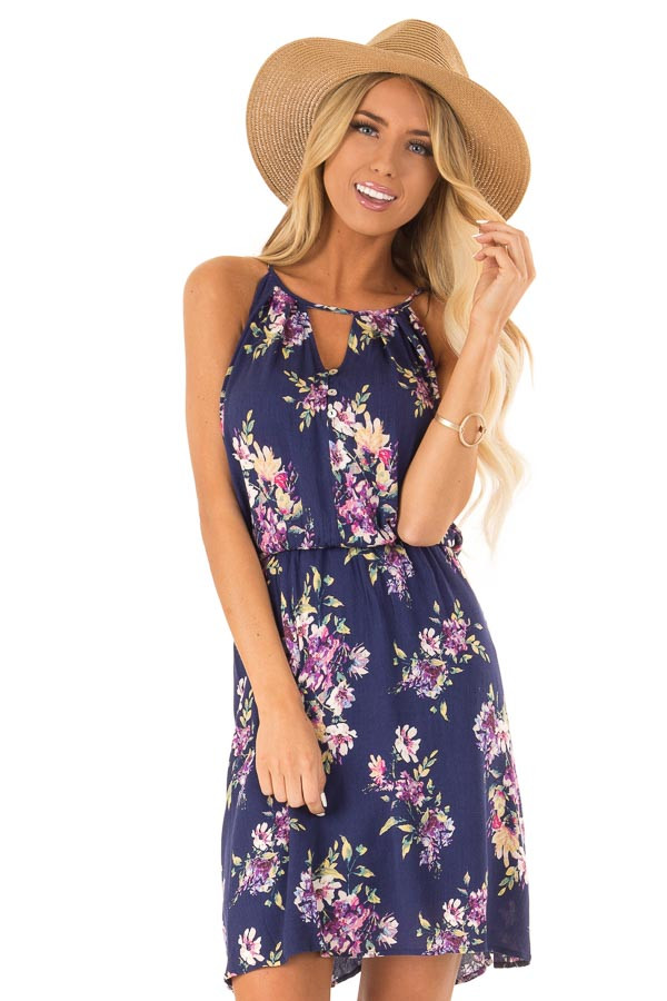 8585d8d01c29 Navy Mini Dress with Floral Print and Button Detail - Lime Lush Boutique