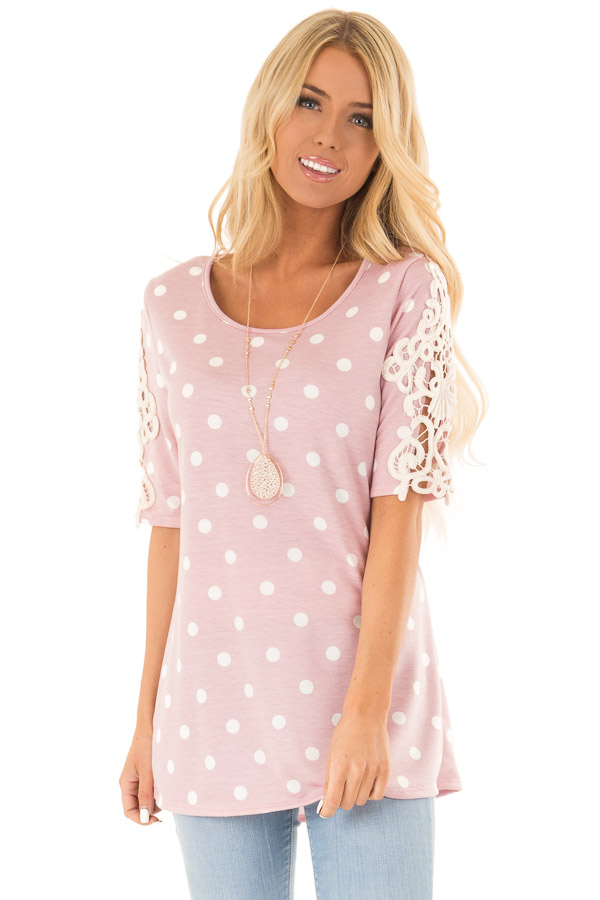 Baby Pink Polka Dot Top with Sheer Lace Sleeve Detail front close up