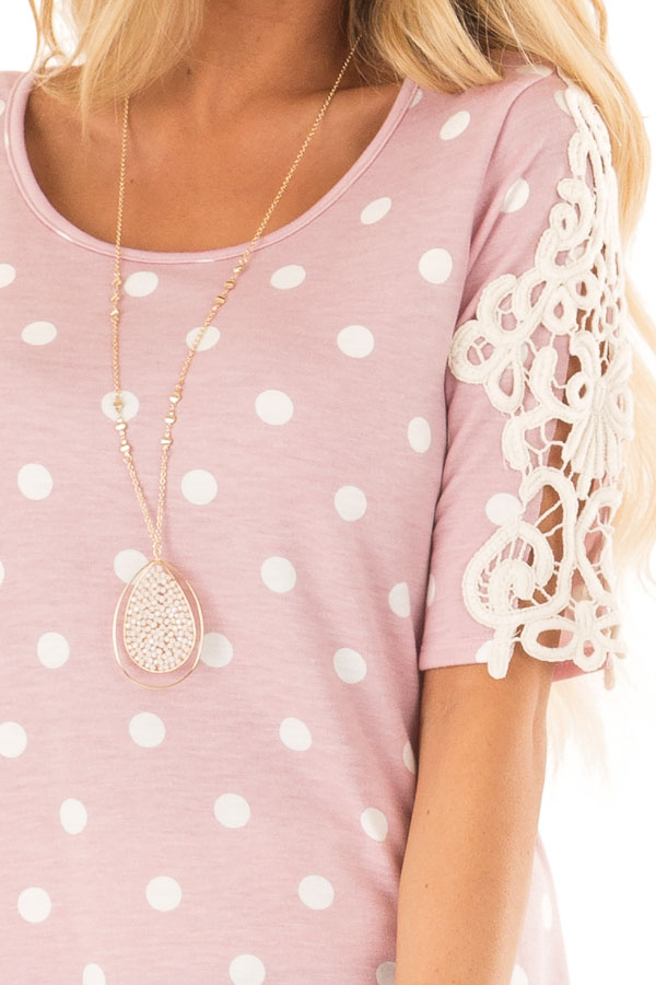 Baby Pink Polka Dot Top with Sheer Lace Sleeve Detail detail