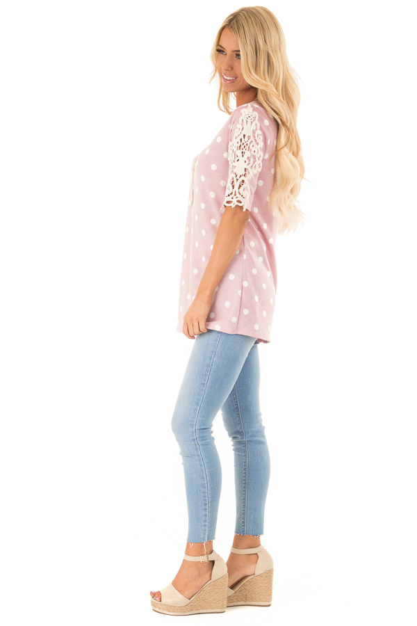 Baby Pink Polka Dot Top with Sheer Lace Sleeve Detail side full body