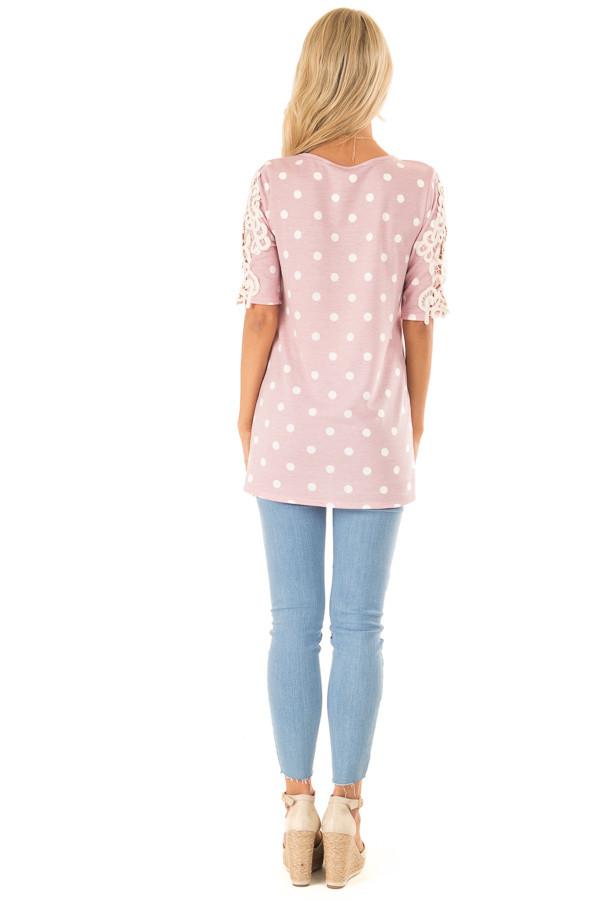 Baby Pink Polka Dot Top with Sheer Lace Sleeve Detail back full body