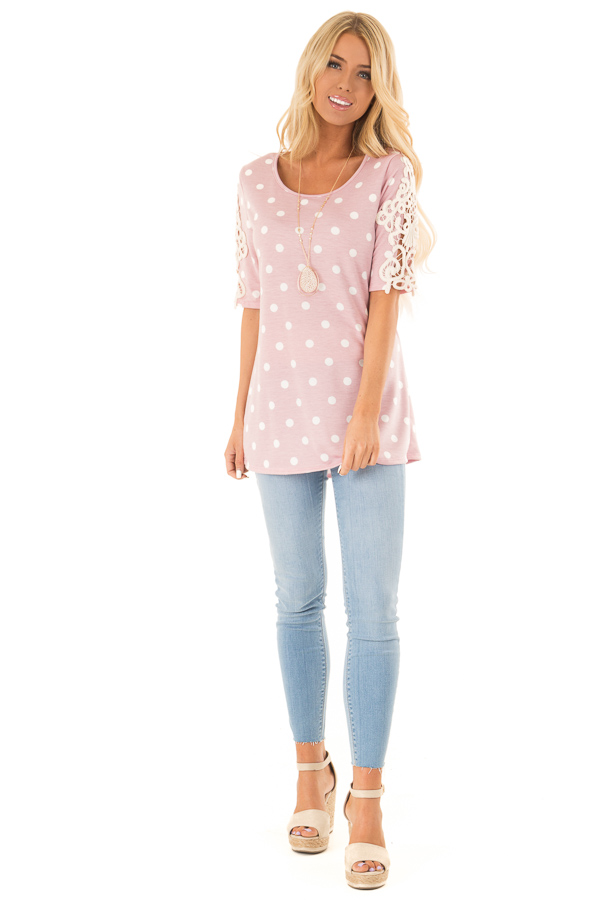 Baby Pink Polka Dot Top with Sheer Lace Sleeve Detail front full body