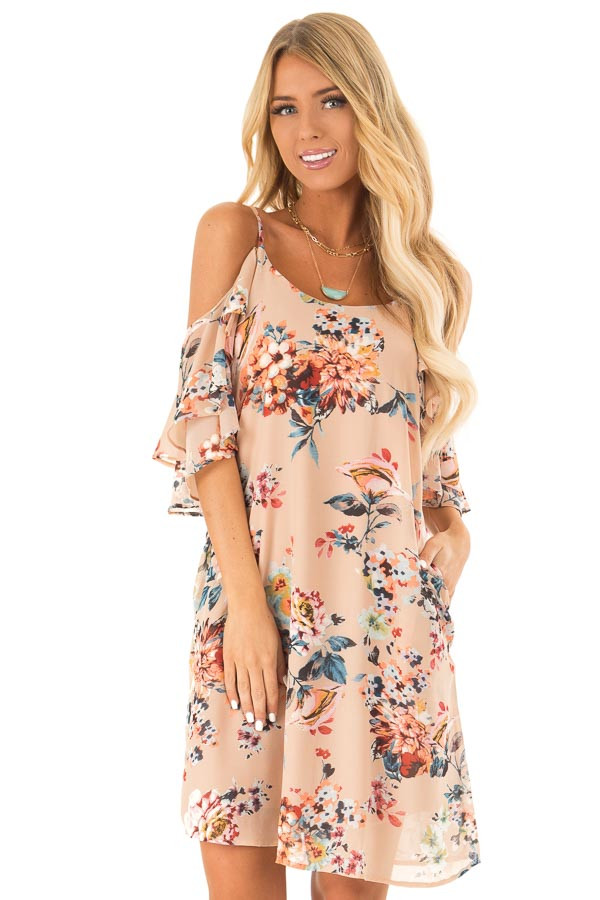 Nude Floral Off the Shoulder Mini Dress with Ruffle Detail front close up