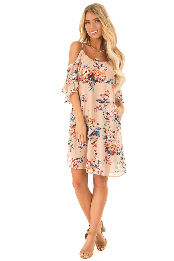 Nude Floral Off the Shoulder Mini Dress with Ruffle Detail front full body