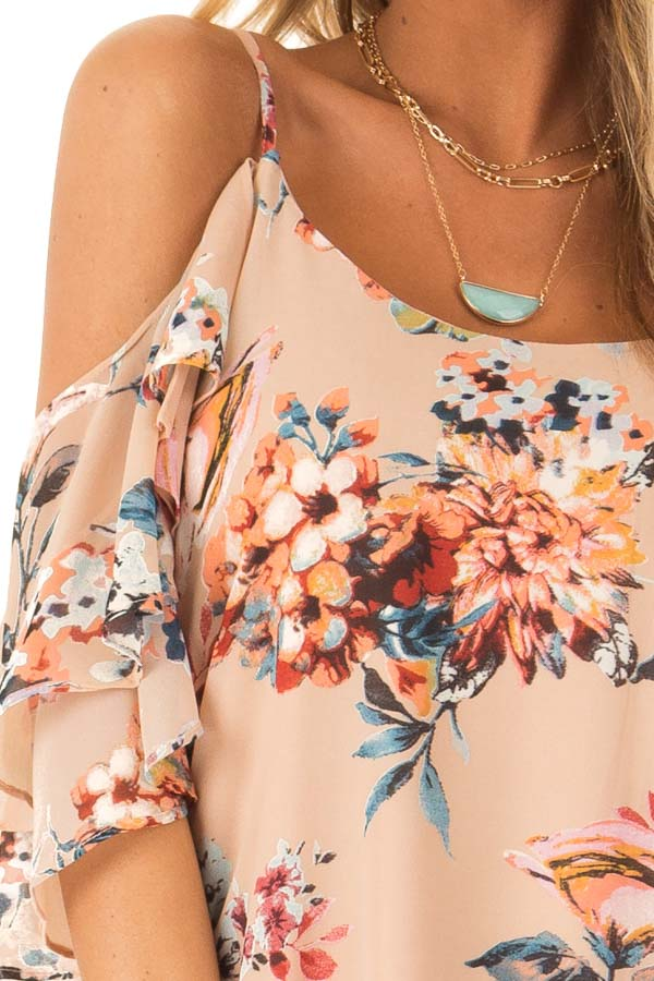 Nude Floral Off the Shoulder Mini Dress with Ruffle Detail detail