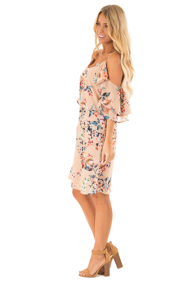 Nude Floral Off the Shoulder Mini Dress with Ruffle Detail side full body