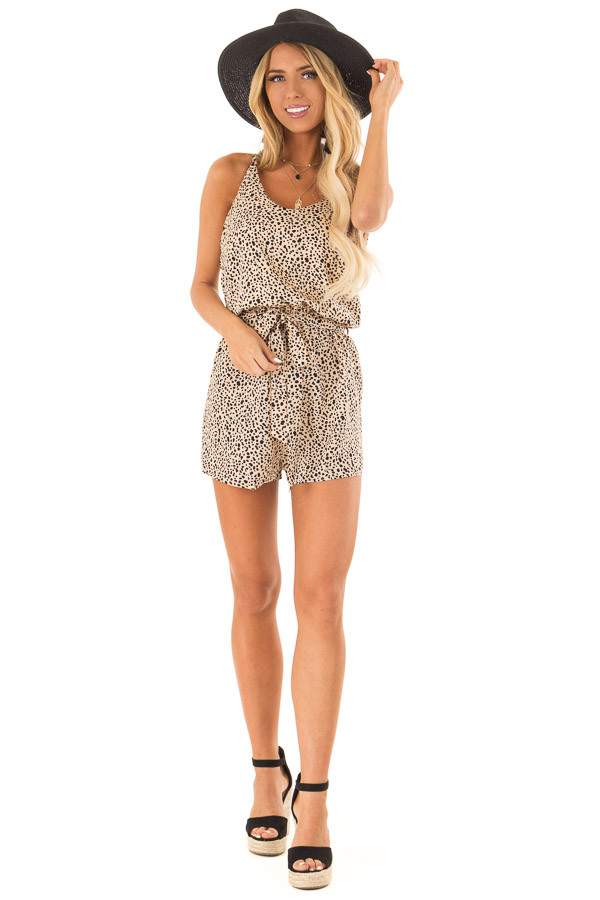 Tan Animal Print Spaghetti Strap Romper with Waist Tie front full body