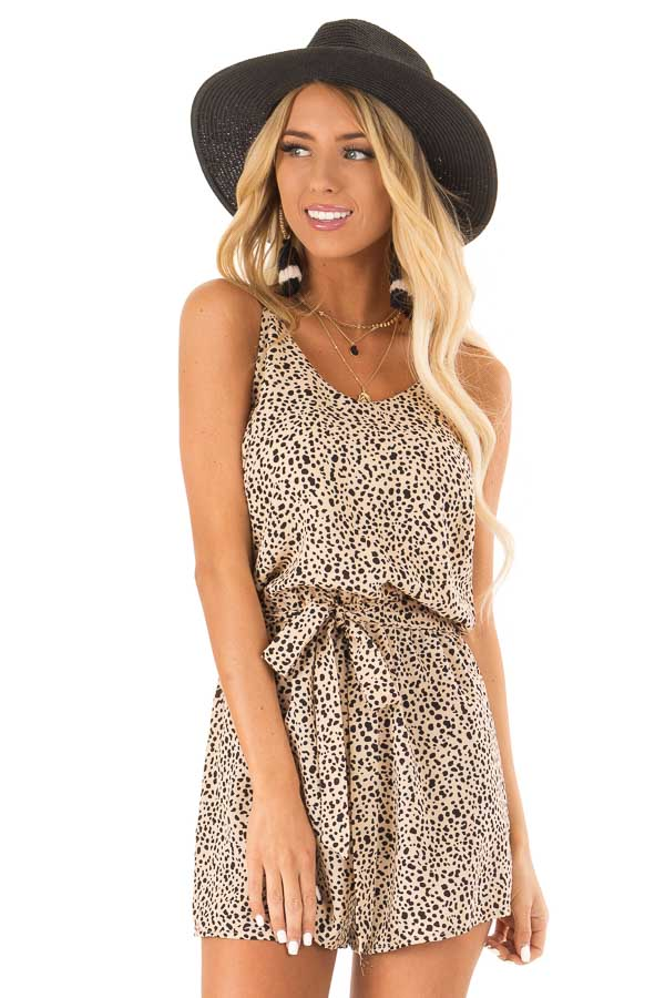 Tan Animal Print Spaghetti Strap Romper with Waist Tie front close up