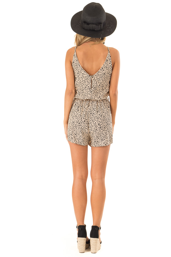 Tan Animal Print Spaghetti Strap Romper with Waist Tie back full body