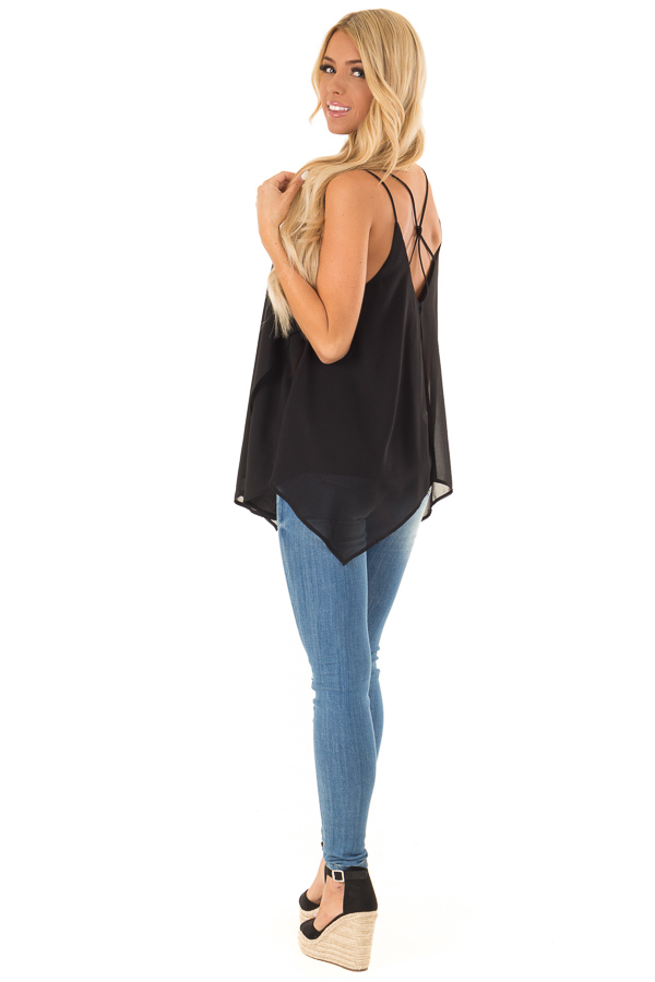 Obsidian Spaghetti Strap Tank with Double Strap Detail side full body