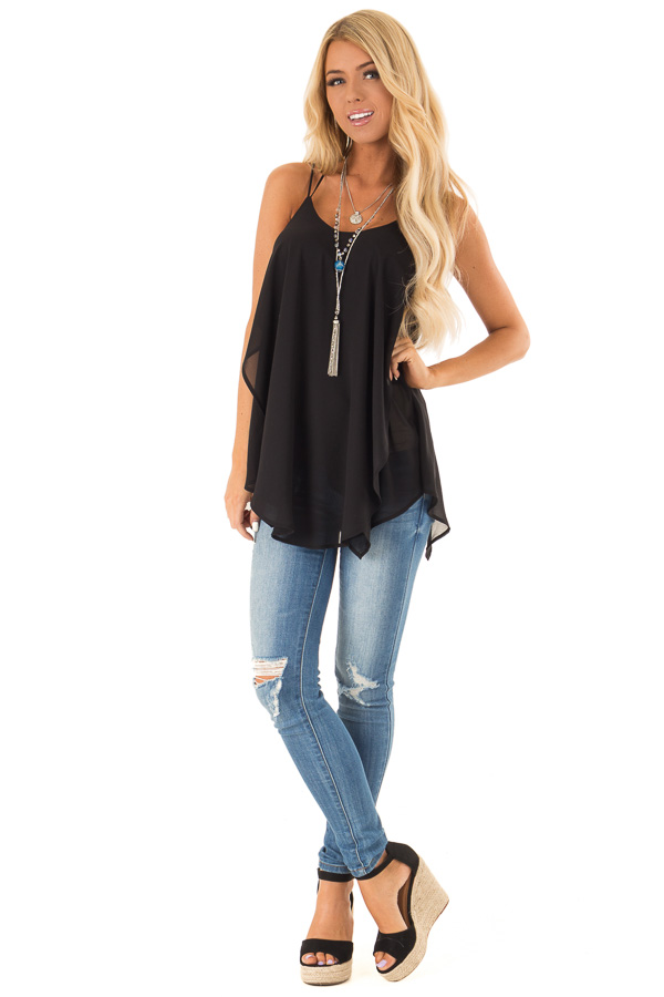 Obsidian Spaghetti Strap Tank with Double Strap Detail front full body