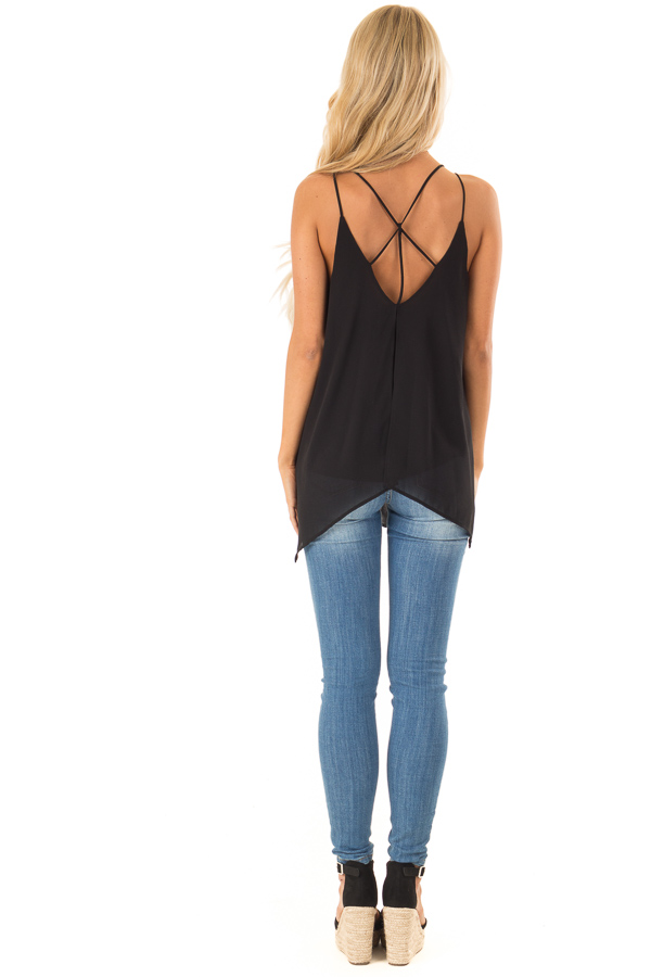 Obsidian Spaghetti Strap Tank with Double Strap Detail back full body