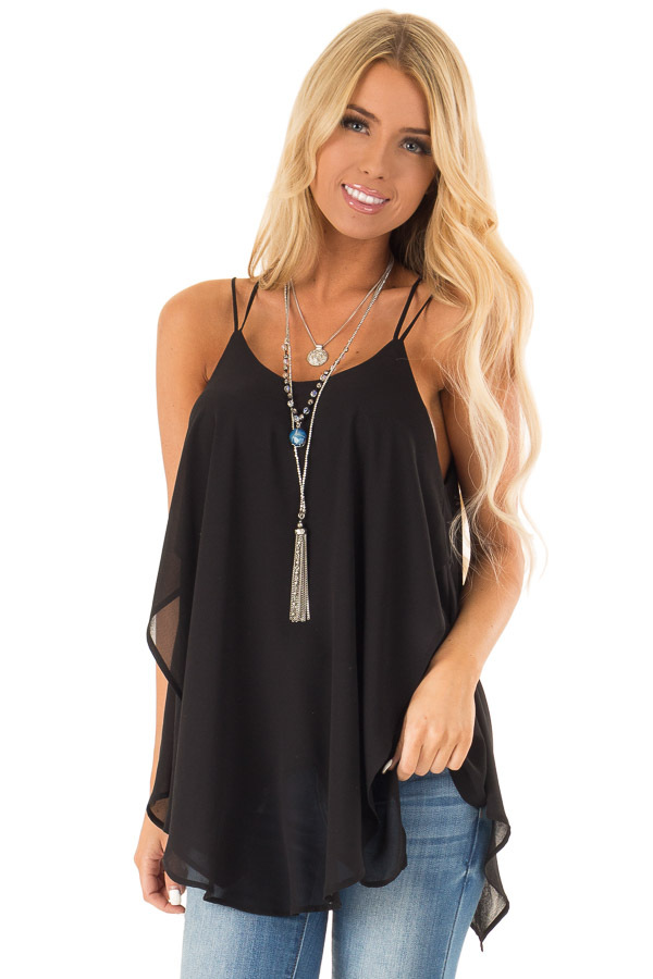 Obsidian Spaghetti Strap Tank with Double Strap Detail front close up