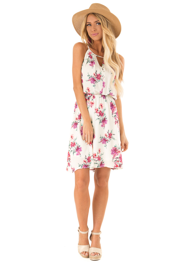 Ivory Dress with Floral Print and Button Detail front full body