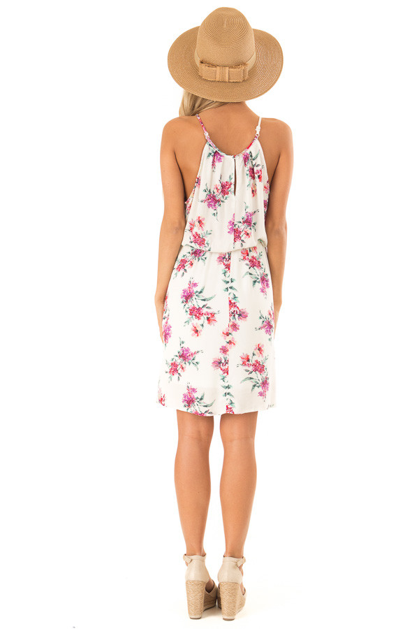 Ivory Dress with Floral Print and Button Detail back full body