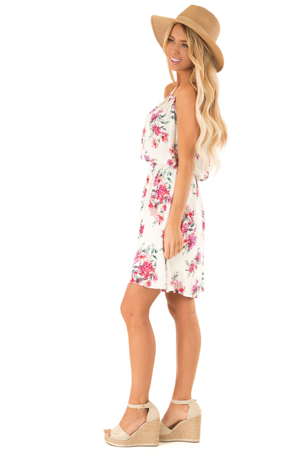 Ivory Dress with Floral Print and Button Detail side full body
