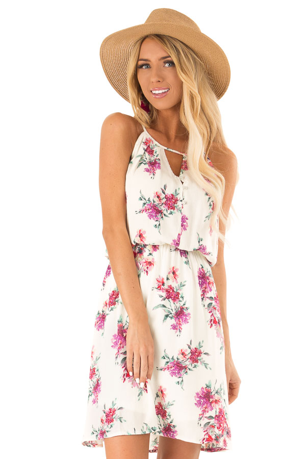 Ivory Dress with Floral Print and Button Detail front close up