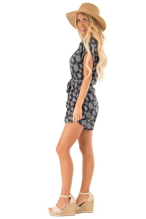 Midnight Button Up Moroccan Print Romper with Waist Tie side full body