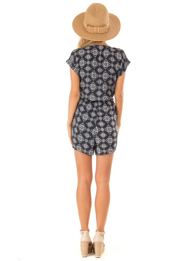 Midnight Button Up Moroccan Print Romper with Waist Tie back full body