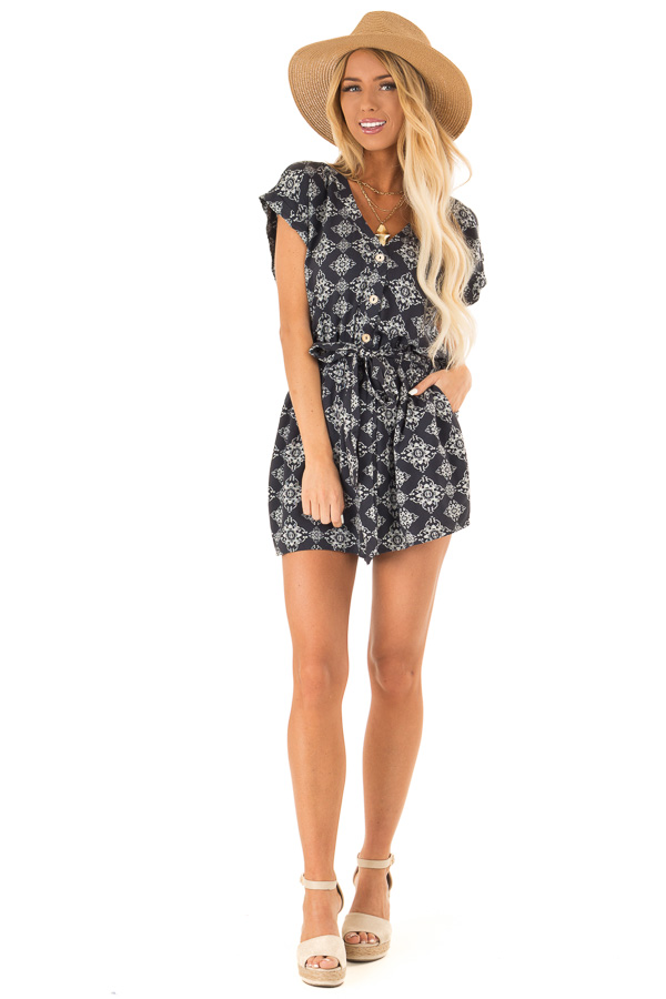 Midnight Button Up Moroccan Print Romper with Waist Tie front full body